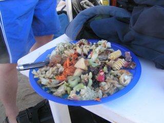 Sample plate of food from Baja Ha-ha 2009 Beach Party/Potluck