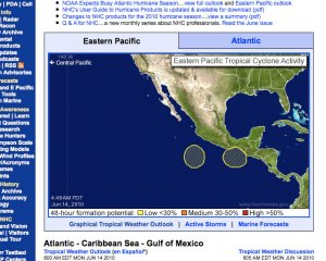 Two potential hurricanes in southern Mexico--according to NOAA
